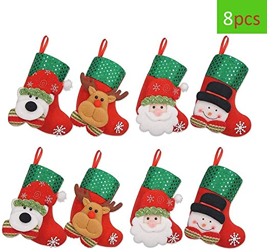 3D Christmas Stocking Santa Snowman Decorative Socks Candy Gift Bag Xmas Tree Decorations Snowman