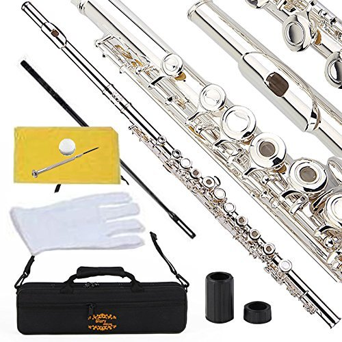 Celtic Plated Silver - Glory Silver Plated Intermediate Open/Closed Hole C Flute Bundle with Case, Tuning Rod, Polish Cloth, Joint Grease, Pair of Gloves and Screw Driver
