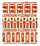 Chaoran 1 Fleece Blanket on Amazon Super Silky Soft All Season Super Plush London Decor Collectiontylish Drawing of Classic Local Attributes Big Ben Bus Queens Guard Flags Image Fabric Extra Orange