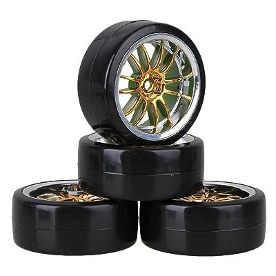 Mxfans 4PCS RC1/10 On Road Car Drift Smooth Wheel Tires & Plastic Plating Golden 12-Spoke Wheel Rims: Toys & Games
