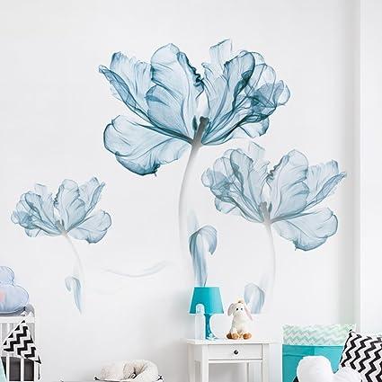 Blaue blume wandtattoo,Kreative wandtattoo für schlafzimmer ...
