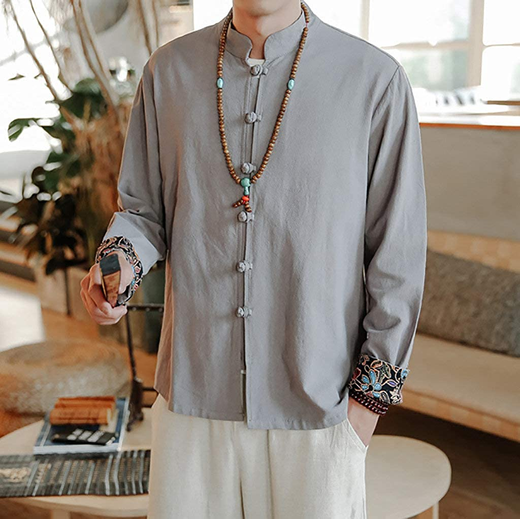 Lloopyting Mens Slim Fit Long Sleeve Banded Collar Solid Linen Shirts Chinese Style Frog-Button Shirt Kung Fu Blouse