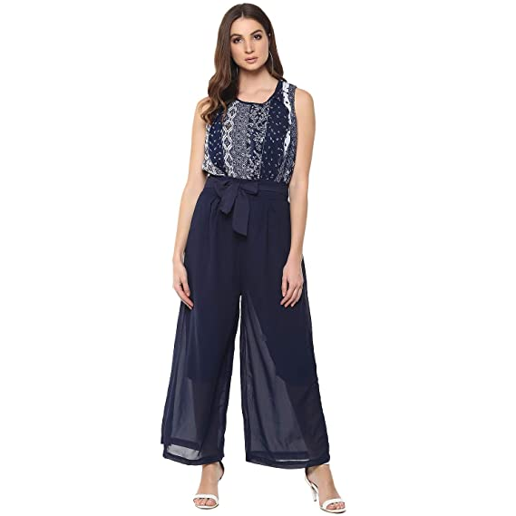 4f5ca5a0ae46 Mayra Women s Georgette Casual wear Jumpsuit  Amazon.in  Clothing ...