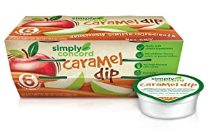 "Simply Concord ""Clean Label"" Caramel Apple Dip (Non-GMO, No Artificial Colors, No HFCS), Sleeve of Six 1.8 Oz. Tubettes (Pack of 2)"
