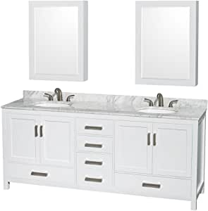 Wyndham Collection Sheffield 80 inch Double Bathroom Vanity in White, White Carrara Marble Countertop, Undermount Oval Sinks, and Medicine Cabinets