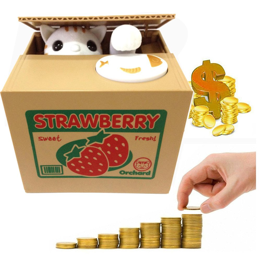 HmiL-U Toy Banks Automatic cat Stealing Coins Birthday for Kids (Strawberry-Cat) by HmiL-U (Image #9)