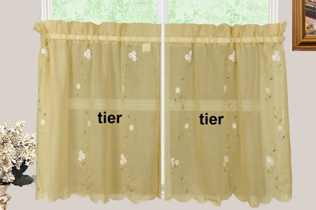 Creative Linens Daisy Embroidery Kitchen Curtain Valance, Tiers or Swags Gold Window Treatment 60 Wide x 36 Long Tiers