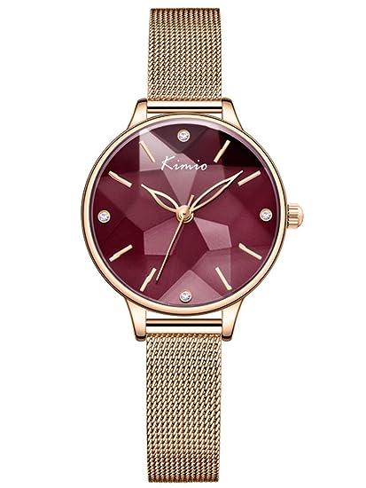 Alienwork Reloj Mujer Relojes Acero Inoxidable Oro Rosa Analógicos Cuarzo Rojo Impermeable Clásico Elegante: Amazon.es: Relojes
