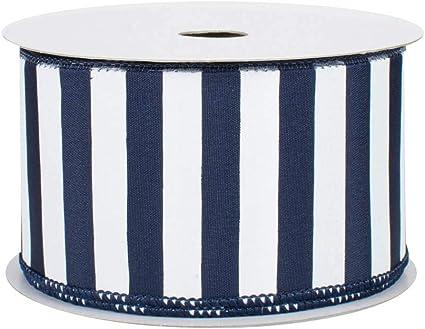 2 12\u201d 10 Yard Roll Blue Ribbon Stripe Ribbon Burlap Ribbon White Ribbon Wired Ribbon