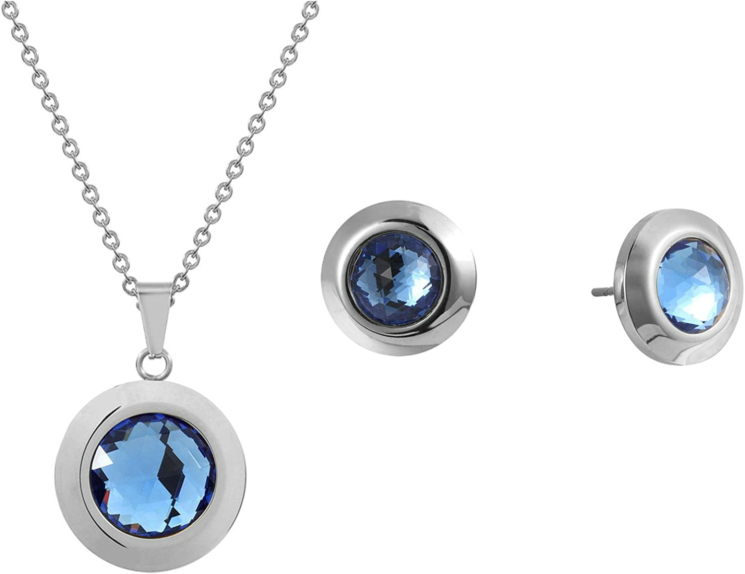 Adisaer White Gold Plated Jewelry Set for Women Necklace and Earring Set Round Blue Cubic Zirconia Silver