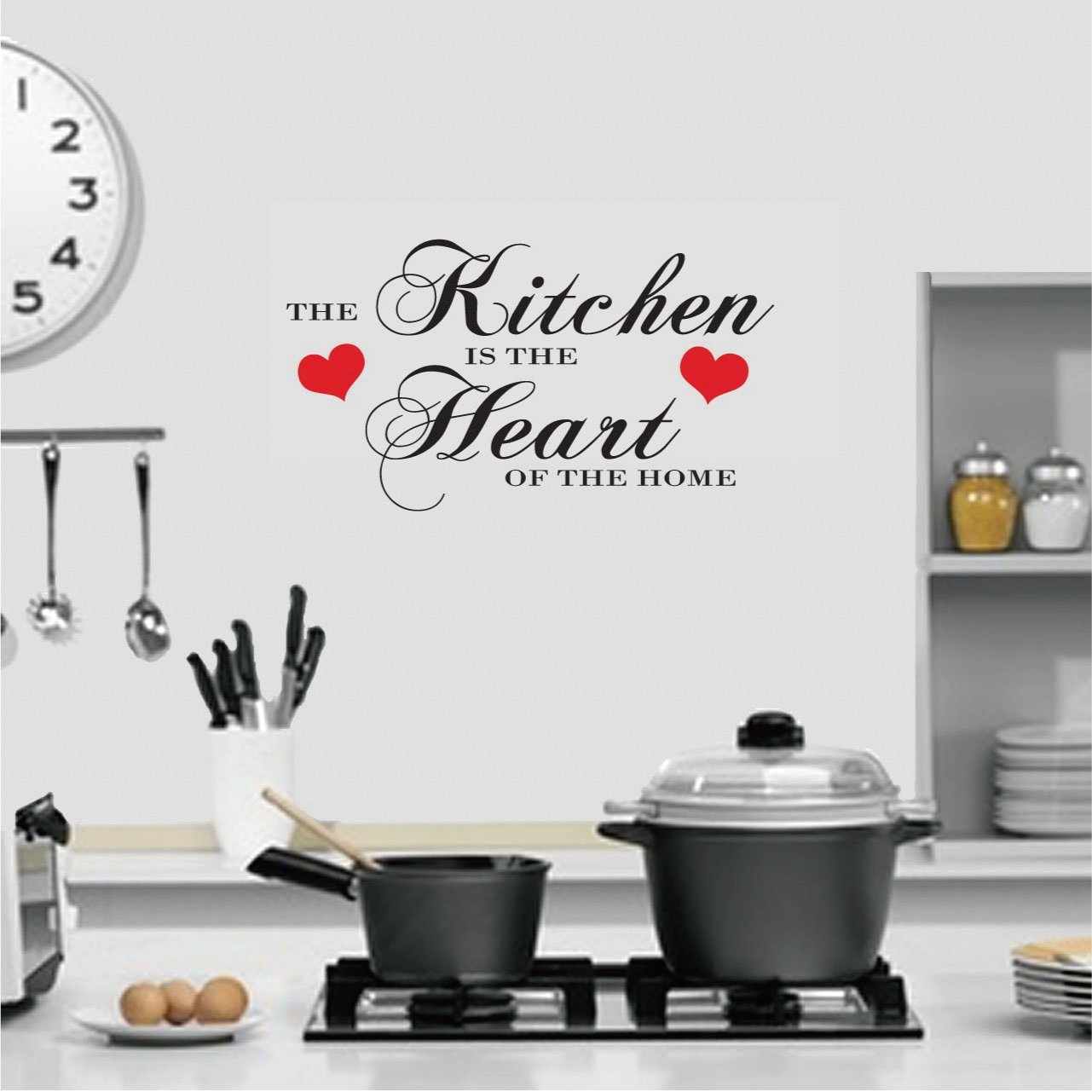 (LARGE) THE KITCHEN IS THE HEART OF THE HOME QUOTE WALL ART DECAL STICKER  14 COLOURS AVAILABLE: Amazon.co.uk: Kitchen U0026 Home