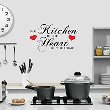 (LARGE) THE KITCHEN IS THE HEART OF THE HOME QUOTE WALL ART DECAL STICKER
