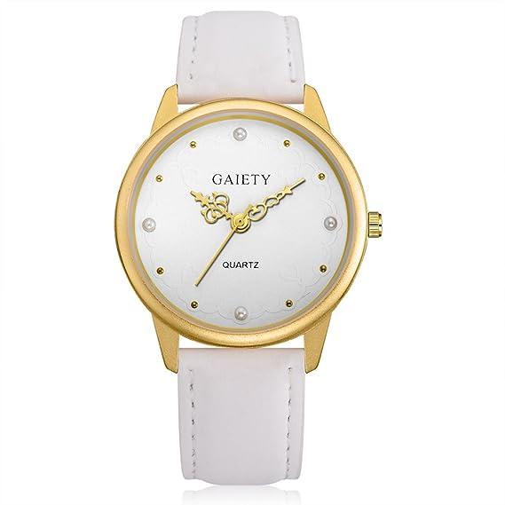 Mujer Casual reloj de pulsera piel pulsera reloj analógico para mujer Quartz Reloj Blanco