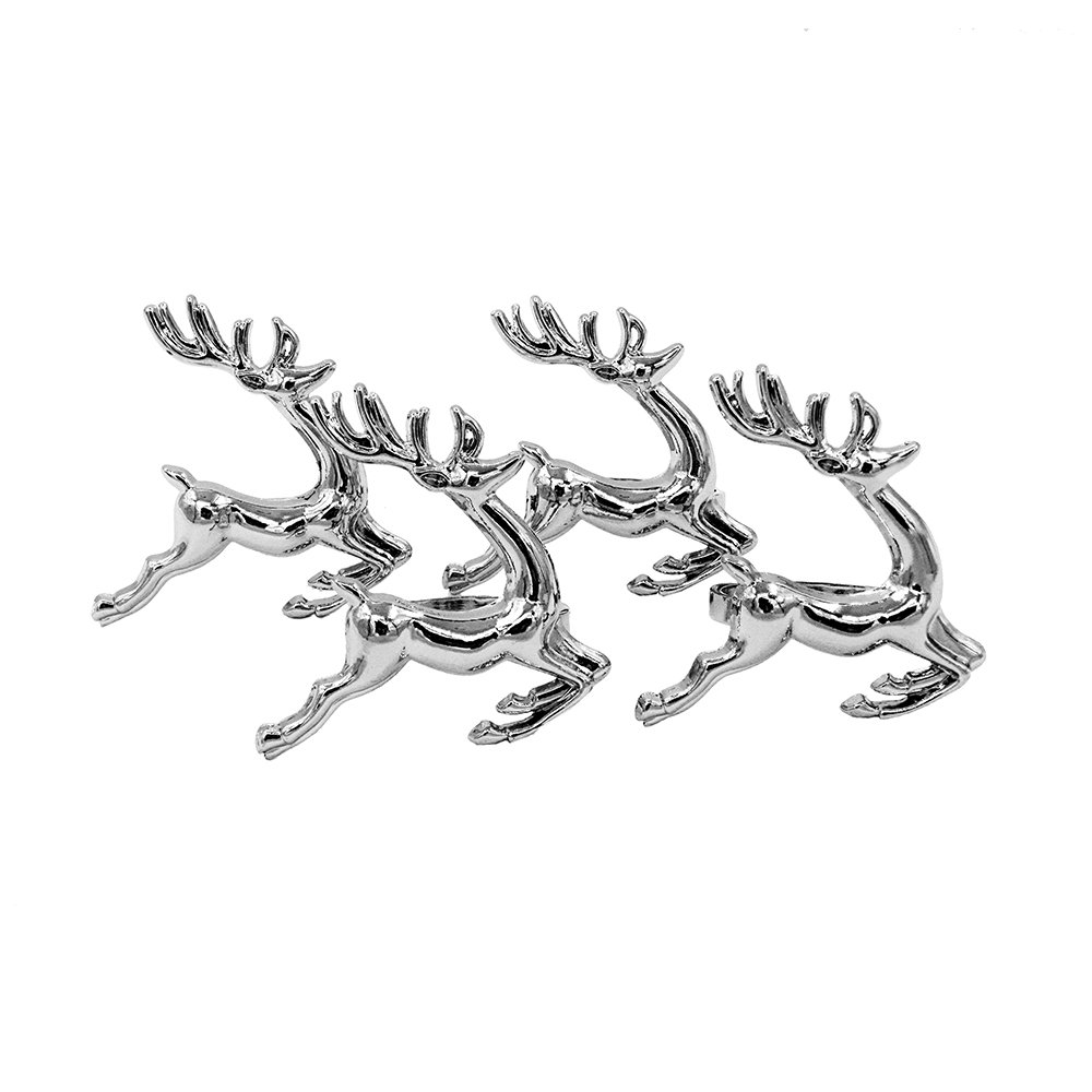 Elehere Silver Deer Napkin Rings Holders for Dinners Parties Everyday Home Table Decoration Accessory Adornment For Wedding Set of 4
