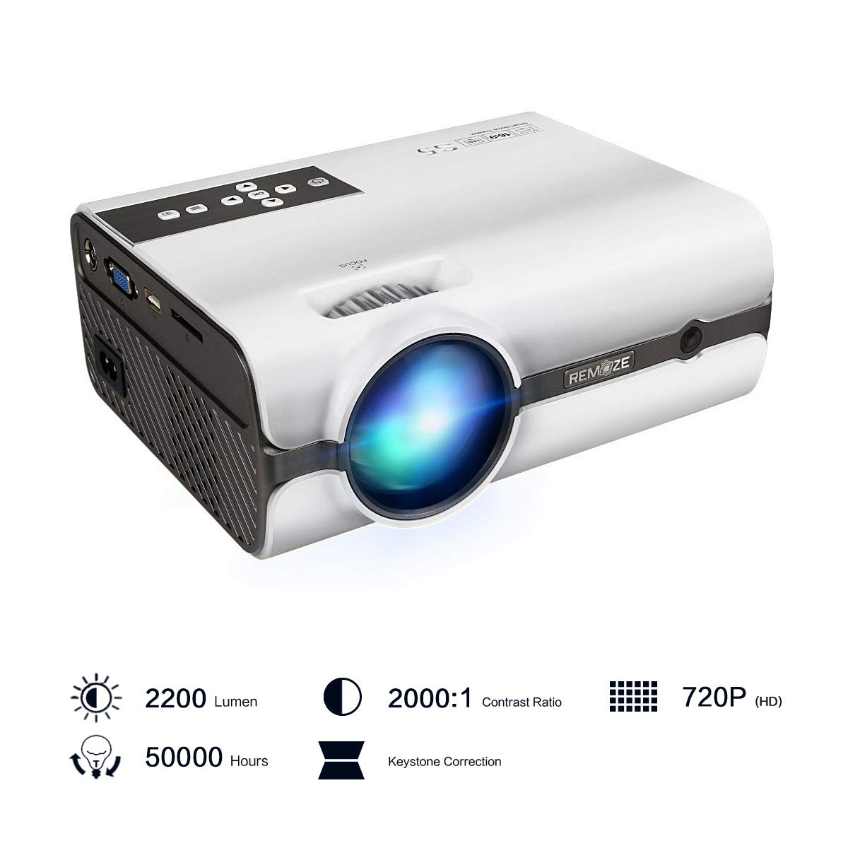 Projector,2018 Upgraded (+80% Lumens) Remoze Mini Portable LED Video Projector HD 1080P for Multimedia Home Theater Outdoor Party Business(White)