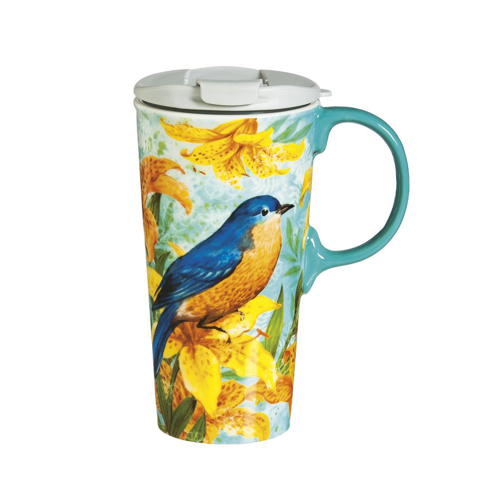Cypress Home Robin Bird Trio Ceramic Travel Coffee Mug, 17 ounces