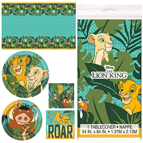 Unique Lion King Dinnerware Bundle Officially Licensed by Unique | Napkins & Plates | Great for Kid's Birthday Party, Cartoon Themed Event, Zoo Motif -