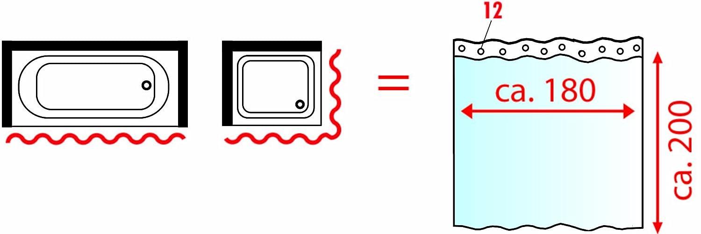 antimoho SEVEN HITECH Cortina de Ducha con 12 Ganchos Cortina de Ducha para ba/ño 180 x 180 cm Resistente al Moho dise/ño de tri/ángulos Tela de poli/éster Impermeable