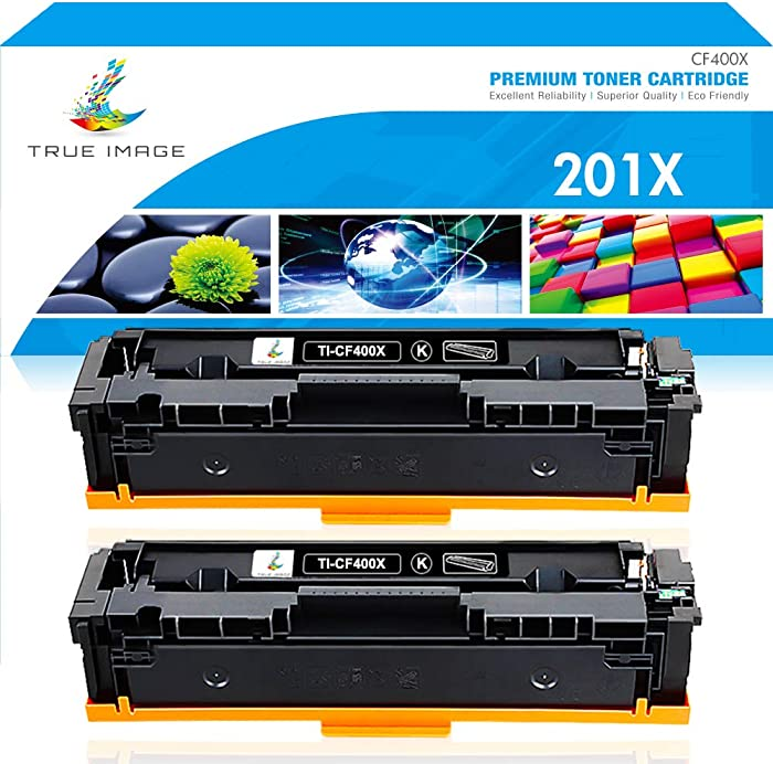 True Image Compatible Toner Cartridge Replacement for HP 201X CF400X 201A CF400A M252 Color Laserjet Pro MFP M277dw M277 M277n M277c6 M252dw M252n Ink Printer (Black, 2-Pack)
