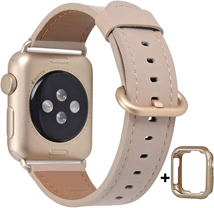 JSGJMY Compatible with Apple Watch Band 38mm 40mm 42mm 44mm Women Men Genuine Leather Replacement Strap for iWatch Series SE 6 5 4 3 2 1 (Light tan with Champagne Gold Clasp, 38mm/40mm S/M)