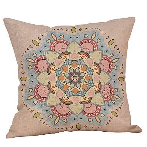 HAALIFE◕‿Decorative Square Throw Pillow Covers Set Mandala Accent 100% Cotton Cushion Cases Pillowcases (18