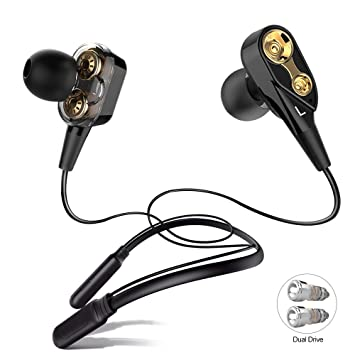 ALWUP Auriculares Bluetooth, Audifonos Inalámbricos con Cuello Dual Driver Dynamic Neckband Headphones con Micrófono Bluetooth 5.0 Earphones In-ear ...