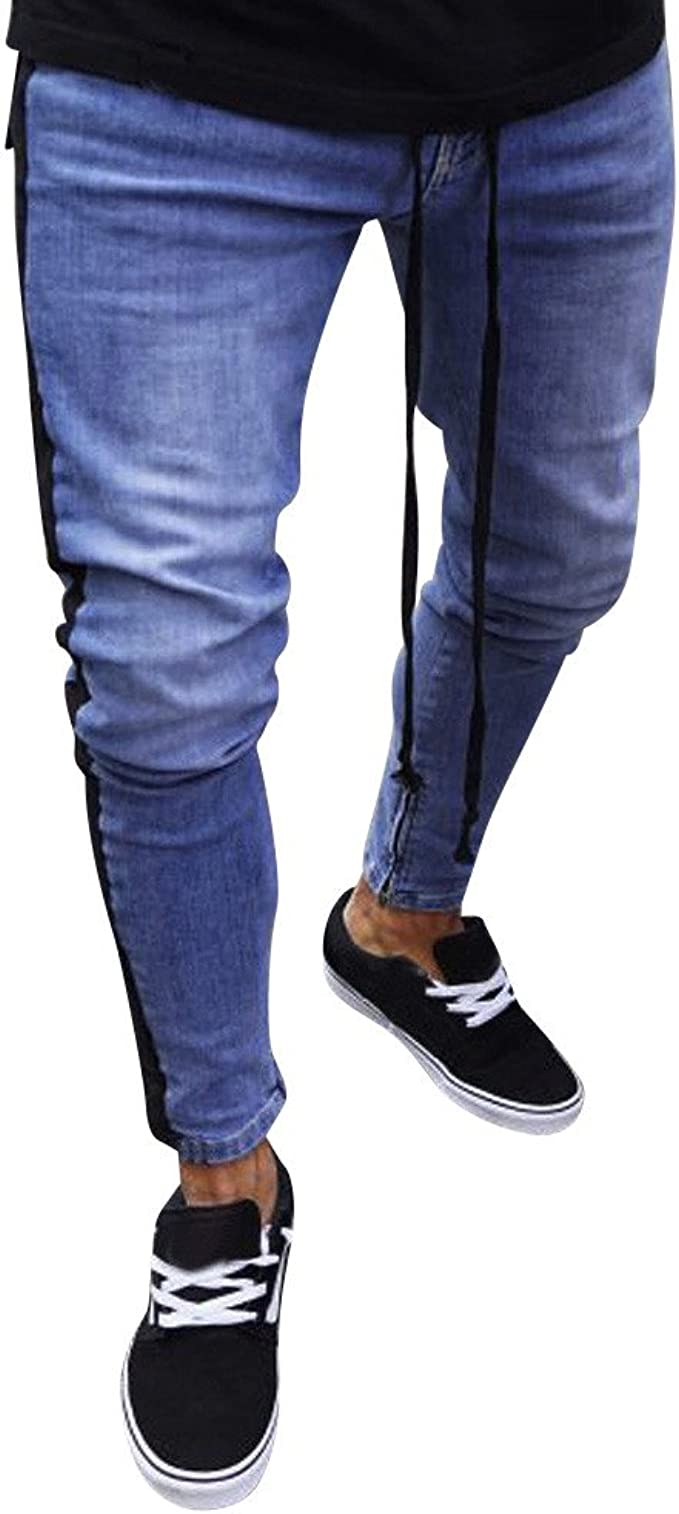 Mens Hipster Skinny Fit Jeans Blue Denim Stretch Pants Biker Jean Casual Pant