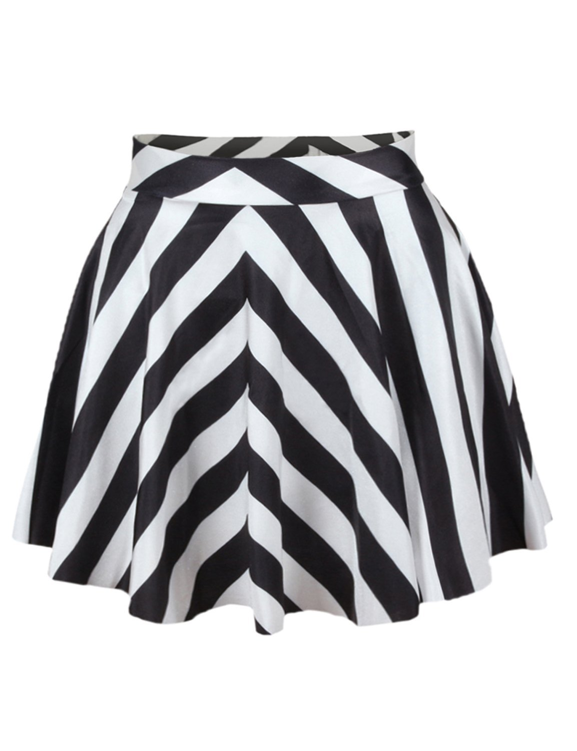 Abby Berny Girls Black White Striped Pattern High Waisted Pleated Short Skirts