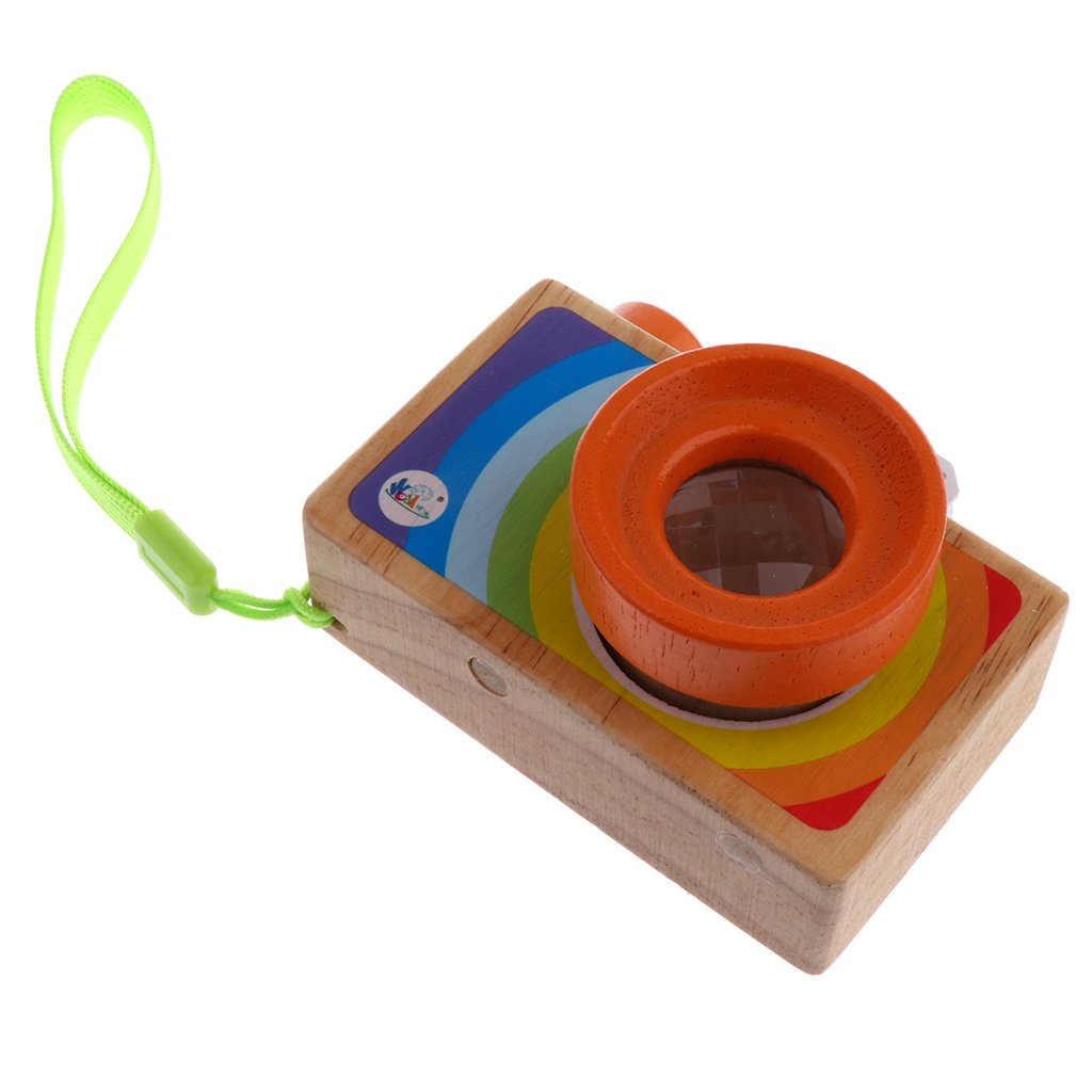 MagiDeal Kids Wooden Camera Toy Mini Portable Camera for Children Play Kaleidoscope Picture Lens non-brand