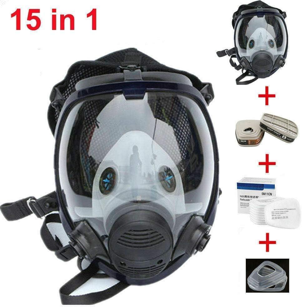WUAZ Máscara Facial De Cara Completa, Kit De Respirador Máscara De Gas Reutilizable Máscara Antigás Respirador De Polvo con Filtro De Silicona para Pintar Aerosol Productos Quimicos