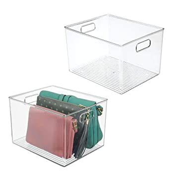 Amazon.com: mDesign - Cesta de plástico con asas para ...