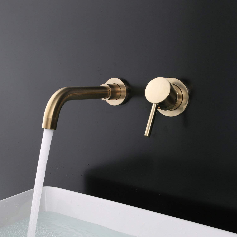 dor/é cuivre Robinet mural 2 trous LK76004BG En laiton bross/é dor/é Robinet de salle de bain moderne /à fixation murale avec bec pivotant /à 360 /° et poign/ée unique