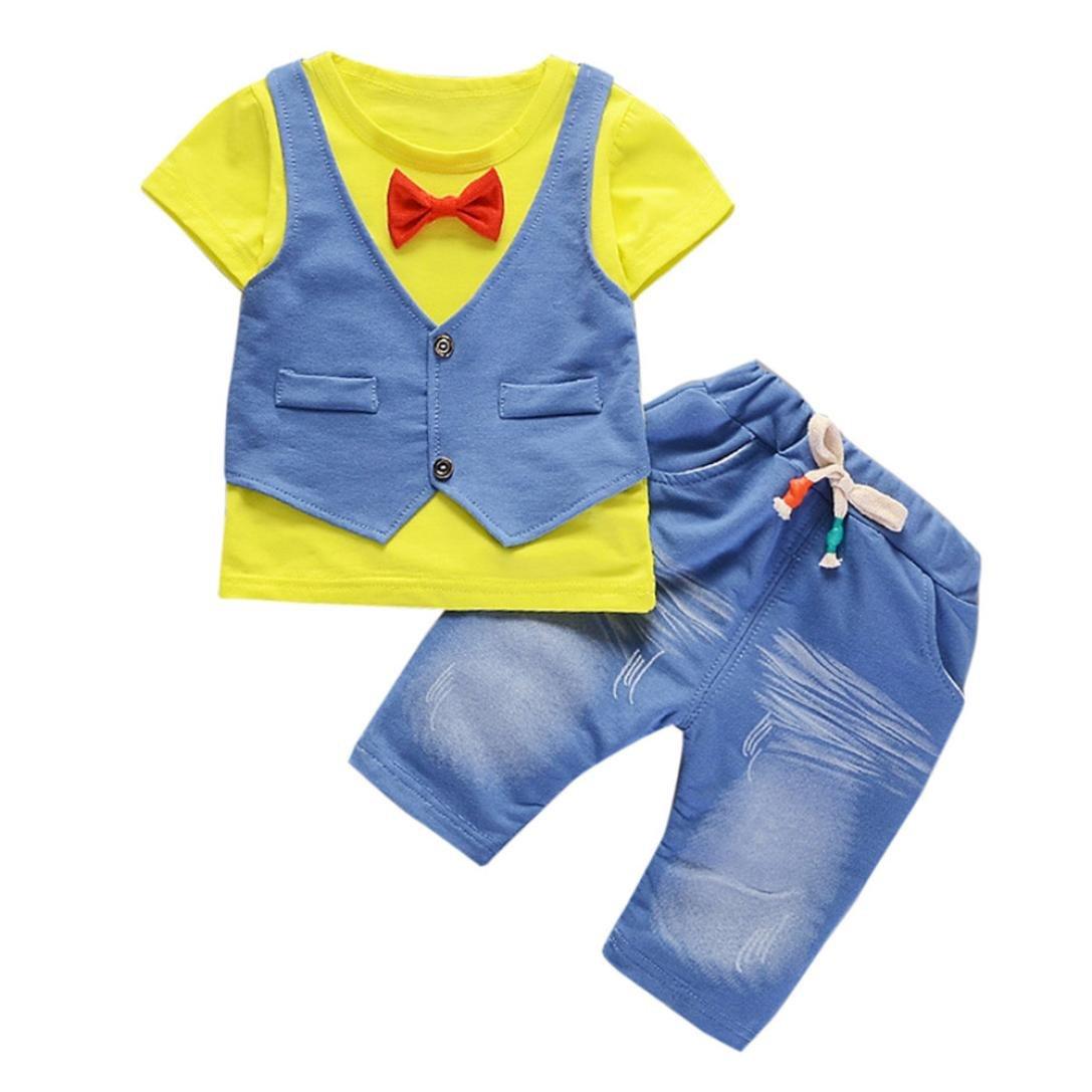 ❤️ Amlaiworld Conjunto de bebé niño de verano pequeños Niños Bebés Trajes de ropa Camiseta de manga corta + pantalones Conjunto de ropa de caballero 6 mes - 4 Años (Amarillo, Tamaño:3 Años) Amlaiworld 1