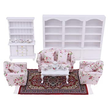 Amazon Com Combo Of 8 Items 1 12 Scale Dollhouse Miniature Living