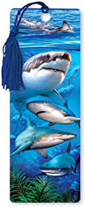 Dimension 9 3D Lenticular Bookmark with Tassel, Swimming with Sharks (LBM077)