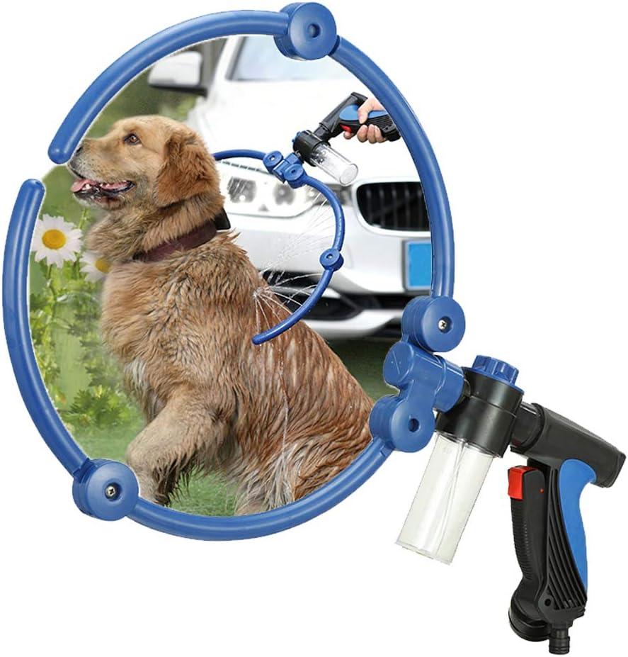 Clip de ducha para mascotas plegable 360 grados de agua, 34 orificios de agua 2 onzas de agua jabonosa baño de mascotas pistola de pulverización (azul / variedad de accesorios puede elegir),Standard