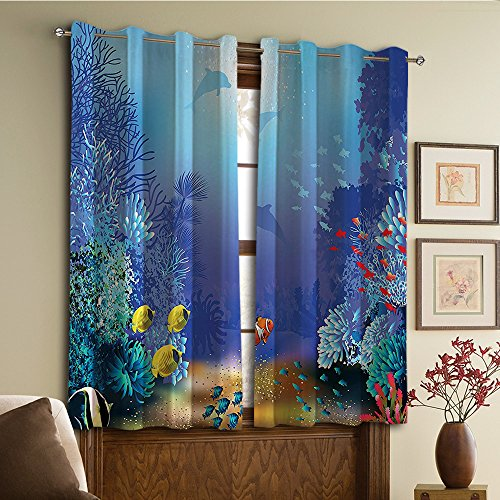Dolphins Gold Two (Custom design curtains/Vintage Lace Window Curtain/Grommet Top Blackout Curtains/Thermal Insulated Curtain For Bedroom And Kitchen-Set of 2 Panels(erwater Coral Reef Polyps Algae Dolphins and Gold))