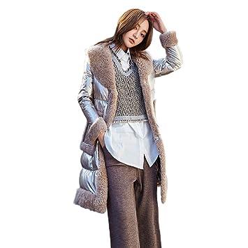 Abrigos Chaqueta de Lana Invierno para Mujer Piel de Oveja Piel uno para Mujer Chaqueta Larga