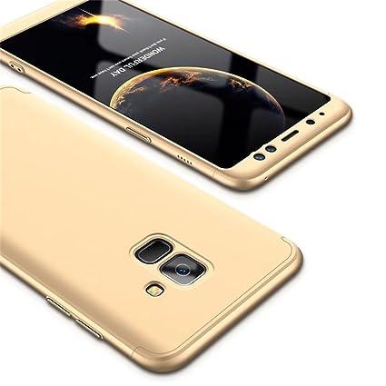 Fanxwu Samsung Galaxy A8 2018 Funda 360 Grados de Protección 3 en 1 combinación Case Ultra Delgado Resistente a Los Arañazos Protectora Cáscara - Oro