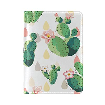 PU Leather Passport Holder Cover Case with Cactus Pattern Travel One Pocket