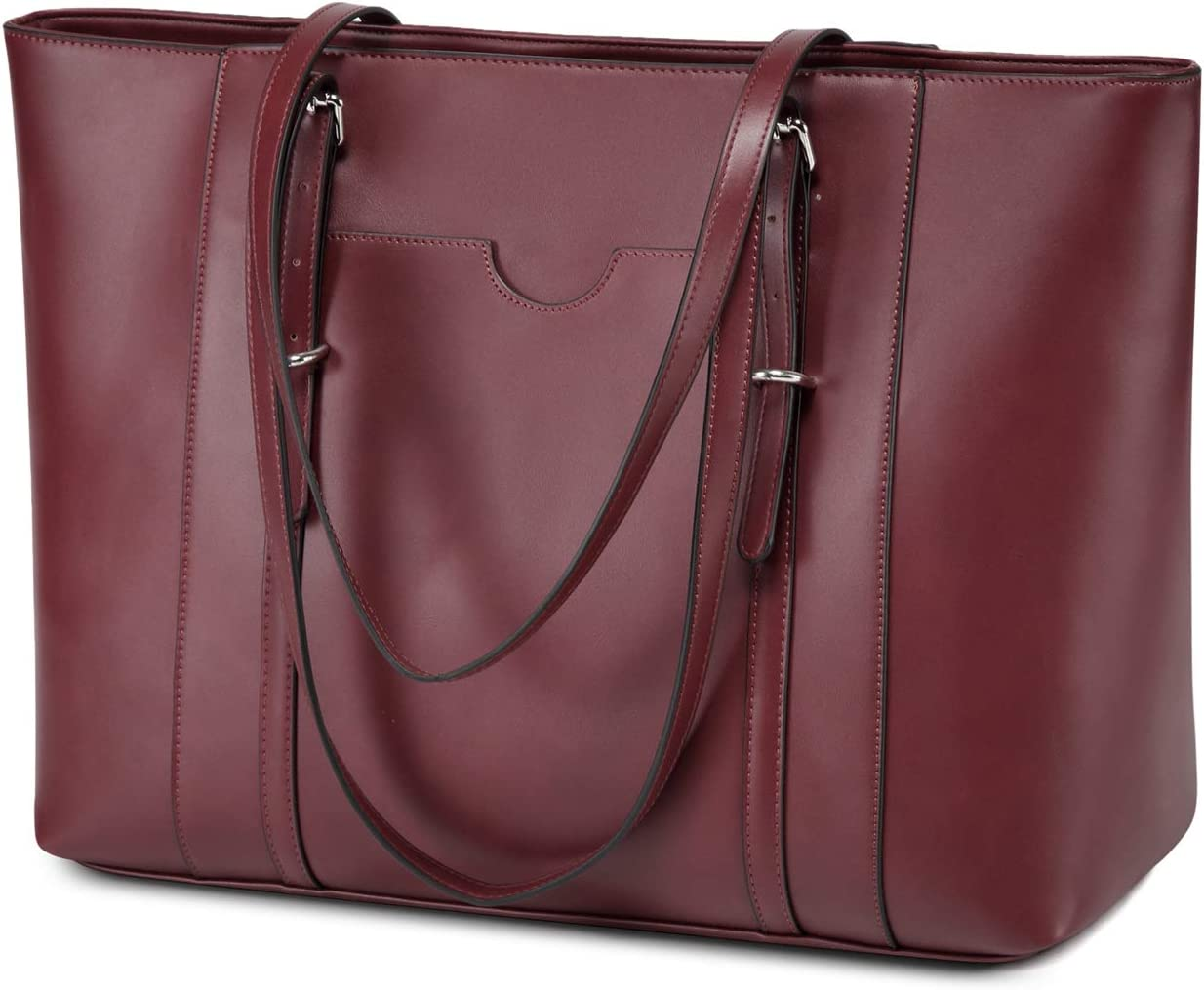 Laptop Tote Bag for Women,Vaschy PU Leather Water Resistant Travel,Work,Teacher Tote Bag Fits 15.6 inch Laptop Burgundy