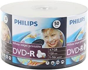 600-pk Philips 16x DVD-R White Inkjet Hub Printable Blank Recordable DVD Disk