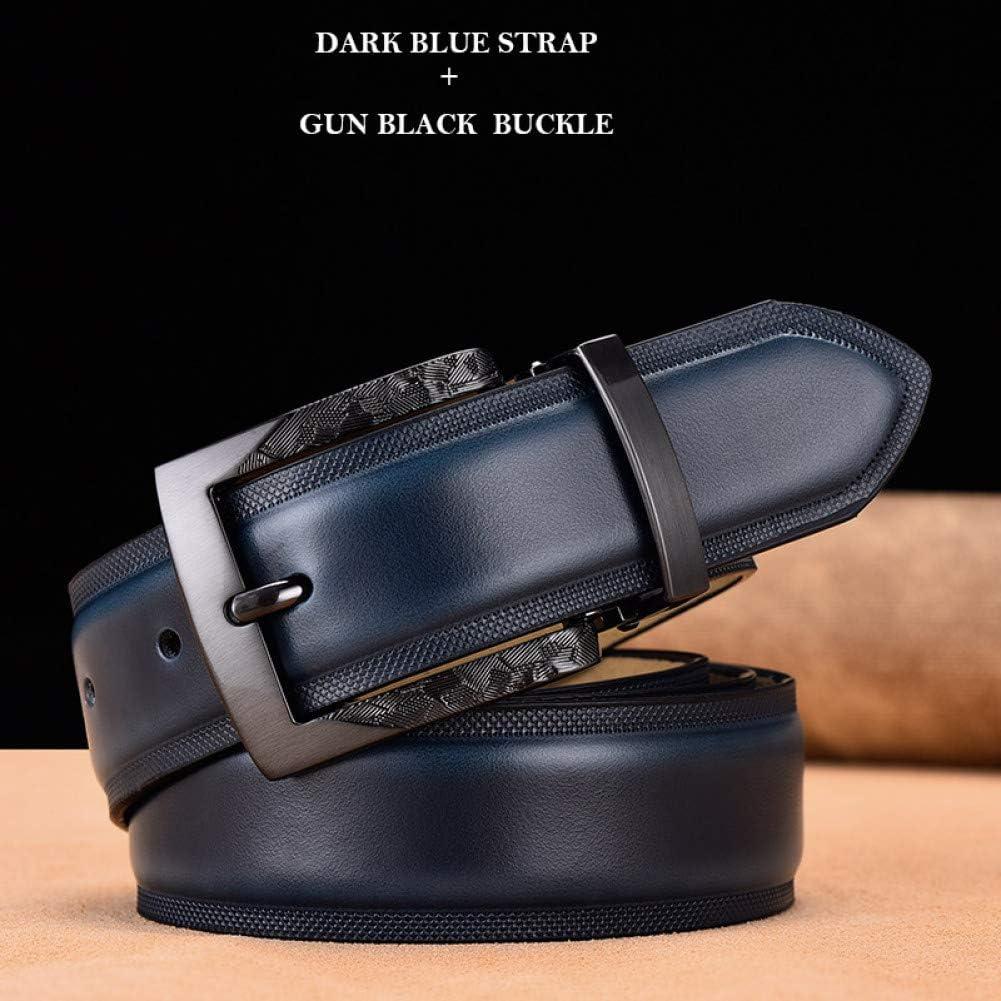 SHOPZZ Hommes Ceinture en Cuir Véritable De Bracelet Ceinture pour Hommes De Mode Classique Vintage Gun Metal Pin Buckle D115CM