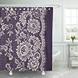 Black Toile Shower Curtain Abaysto Black Toile White Lace Violet Wedding Line Polyester Fabric Shower Curtain Sets with Hooks Waterproof Mildew Bathroom Decor