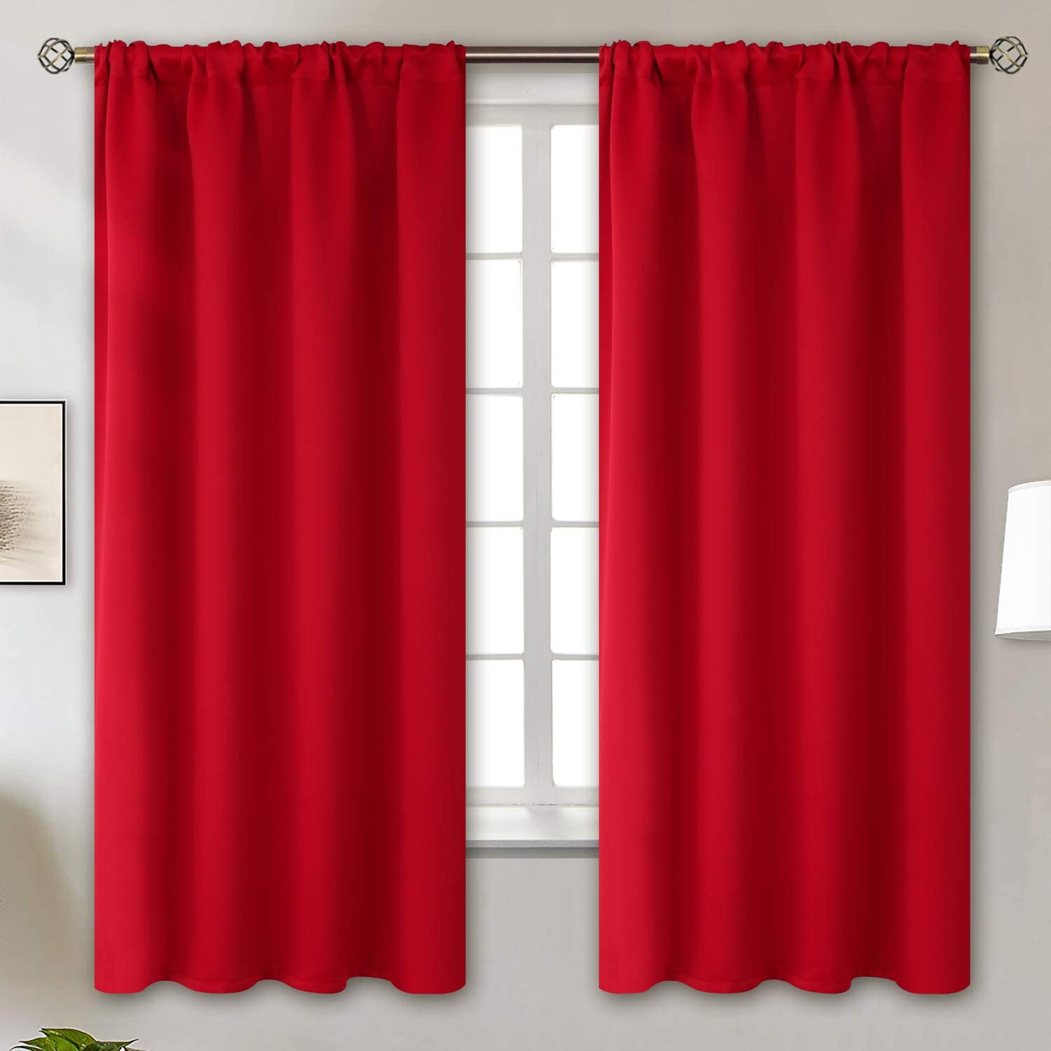 BGment Rod Pocket Blackout Curtains for Bedroom Thermal Insulated Room Darkening Curtain for Living Room Emerald 2 Panels 42 x 45 Inch