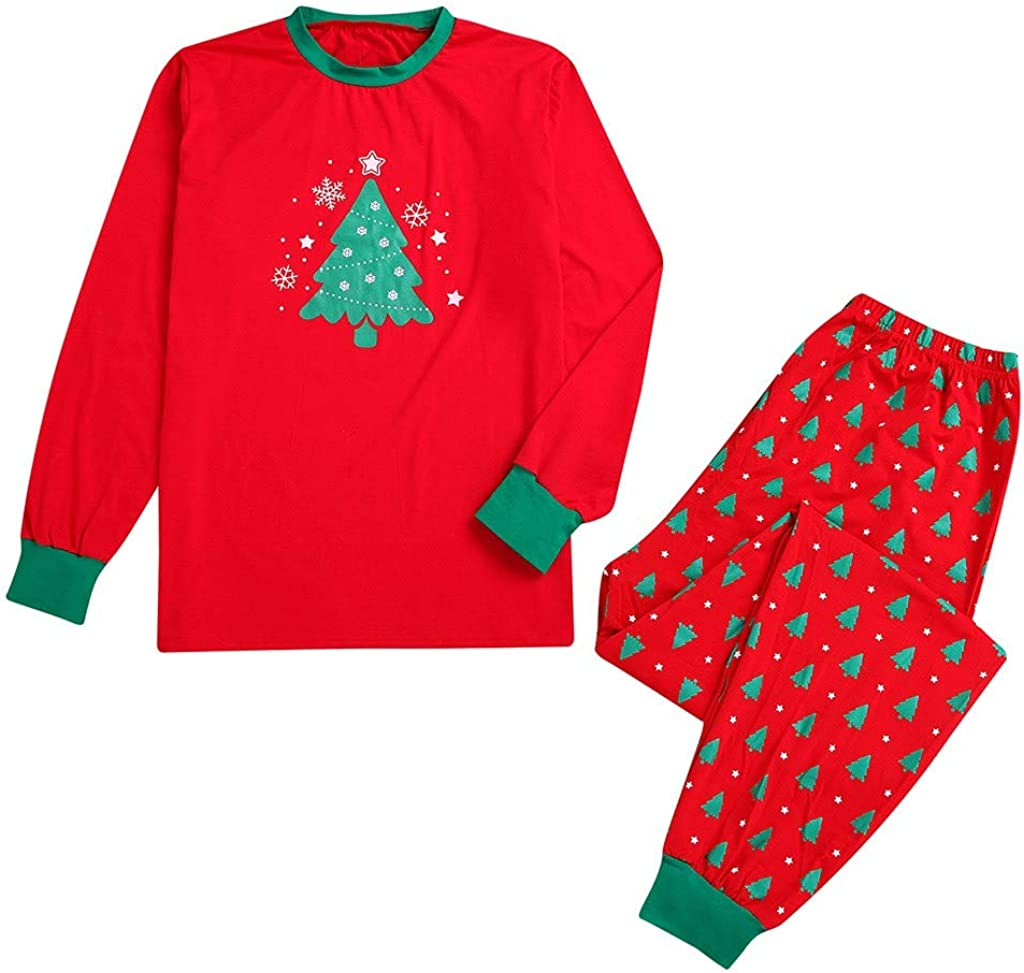 Lurryly❤Matching Family Pajamas Christmas Santa Sleepwear Kids Tops Pants PJs Set Holiday Couples Suits