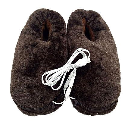 Healifty Calentador de pies calefactado Zapatillas USB Zapatillas para microondas Zapatos de invierno Café