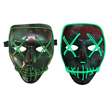 Halloween Costume Mask Luminous Skull Full Face Mask Horror Skeleton Cosplay Masquerade Scary El Wire LED  sc 1 st  Amazon.com : full face costume mask  - Germanpascual.Com