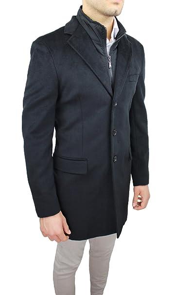 Giaccone giubbotto uomo sartoriale blu slim fit invernale giacca soprabito elegante con gilet interno (XL)