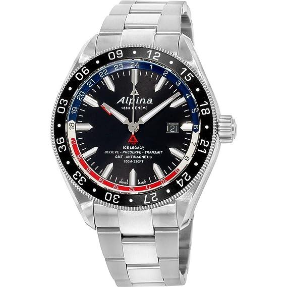 Alpina Alpiner negro Dial acero inoxidable hombre reloj al550grn5aq6b: Amazon.es: Relojes